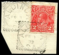 Lot 1313:Aldinga: squared-circle 'ALDINGA/FE9/334/S_A' on 2d red KGV on piece.  PO c.1851; closed 4/4/1992.