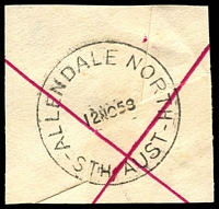 Lot 1742:Allendale North: - 'ALLENDALE NORTH/12NO58/STH AUST' on piece. [Rated 3R]  Renamed from Allandale North PO 1/1/1925; closed 12/12/1965.
