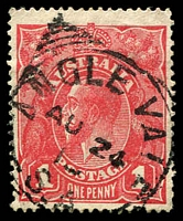 Lot 1745:Angle Vale: - squared-circle 'ANGLE VALE/AU24/1?/S_A', on 1d red KGV.  PO 1/10/1866; CMA 6/9/1982.