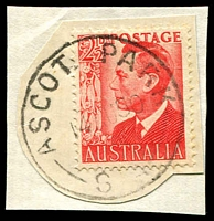 Lot 1746:Ascot Park: - 'ASCOT PARK/14AU50/S.A' on 2½d red KGVI on piece.  PO 1/6/1918; renamed Park Holme North PO 15/8/1966.