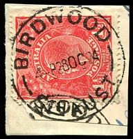 Lot 1751:Birdwood: - 'BIRDWOOD/4P28OC24/STH AUST' on 2d red KGV on piece.  Renamed from Blumberg PO 1/7/1918.