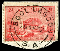 Lot 1752:Bool Lagoon: - 'BOOL LAGOON/26AP32/S.A' on 2d Bridge on piece.  PO 31/7/1896; closed 10/3/1951.