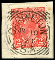 Lot 1756:Carrieton: - squared-circle 'CARRIETON/JY10/234/S_A' on 2d red KGV on piece.  Renamed from Yanyarrie Whim PO c.-/4/1880; CMA 29/10/1993.