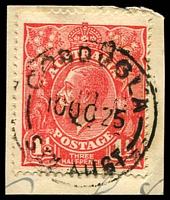 Lot 1400:Cobdogla: - 25½mm 'COBDOGLA/10OC25/STH AUST' (LRD) on 1½d red KGV on piece. [Rated 3R]  RO 15/5/1917; PO 1/10/1917; LPO 10/8/1993.