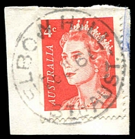 Lot 1764:Elbow Hill: - 'ELBOW HILL/26JL67/STH AUST' on 4c red on piece.  PO 1/4/1895; closed 31/12/1977.