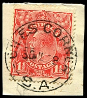 Lot 1769:Giles' Corner: - 'GILES CORNER/30JL28/S.A.' on 1½d red KGV on piece. [Rated 3R]  Replaced Navan PO 1/11/1889; closed 24/11/1930.