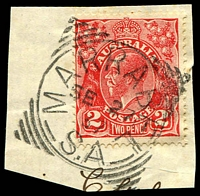Lot 1791:Marrabel: - squared-circle 'MARRABEL/SE27/37/S_A' on 2d red KGV on piece.  PO 9/5/1861.
