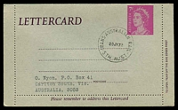 Lot 10498:Trans-Australian Railway: 'TRANS-AUSTRALIAN RAIL/20JY72/STH AUST', philatelic use on 7c Letter Card.