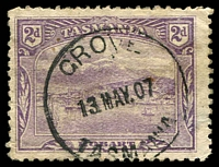 Lot 2061:Grove (2): - 'GROVE/13MAY07/TASMANIA' on 2d Pictorial.  PO 4/4/1907.
