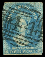Lot 10394:44: on 2-margins wmk double-lined 4 inverted 4d blue.  Allocated to New Norfolk-PO 1/6/1832.