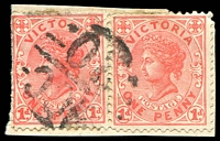 Lot 11053:1220: 'MCC/20' on 1d pair pair, on piece. [Rated SS]  Allocated to Callignee-PO 1/7/1881; closed 31/7/1969.