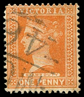 Lot 11064:1246: 'MC[C]/46' on 1d brown.  Allocated to Yarroweyah-PO 1/1/1882; renamed Yarroweyah South PO 9/4/1888; Re-allocated to Yarroweyah PO 5/3/1888; closed 13/2/1976.