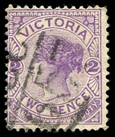 Lot 12774:1265: '[M]CC/65' on 2d violet.  Allocated to Drouin North-PO 1/2/1882; renamed Buln Buln East PO 3/4/1893; closed 6/1/1962.