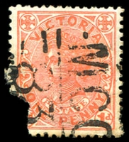 Lot 11083:1283: 'MCC/83' on 1d pink (faults). [Rated S]  Allocated to Gembrook South-PO 16/6/1882; renamed Pakenham Upper PO 17/6/1913.