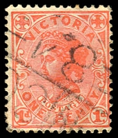 Lot 12783:1284: 'MCC/84' on 1d pink.  Allocated to Gymbowen-PO 1/6/1862; closed 31/3/1978.