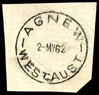 Lot 3367:Agnew: - 'AGNEW/2MY62/WEST.AUST', on piece.  Renamed from E.M.U. Mine Lawlers PO 17/12/1936; closed 2/7/1979.
