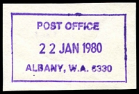 Lot 3056:Albany: violet boxed 'POST OFFICE/22JAN1980/ALBANY, W.A, 6330' on piece.  PO 14/10/1834.