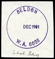 Lot 3377:Beldon: - 'BELDON/  DEC1981/W.A. 6025' (G33Ra) last day cancel on piece.  PO 1/2/1978.
