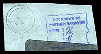 Lot 3542:Narrogin: - violet boxed 'NOT KNOWN BY/POSTMEN NARROGIN/.....' with provision for 4 walks, used 3/2/1969.  PO c.-/7/1890.