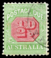 Lot 3582:1913-21 Wmk Crown/Double Lined A Thin Paper BW #D94(FP1)l ½d rose-red & green (wmk sideways), White flaw on left foot of first A of AUSTRALIA [108], couple of light tone spots, Cat $35.