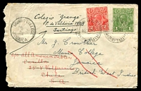 Lot 593 [1 of 2]:1934: (Jan 19) use of 1d green & 2d red KGV on cover (opened roughly at left) from Thirlmere, NSW, originally addressed to Munro College, Jamaica and then redirected twice with Valparaiso, Chile.