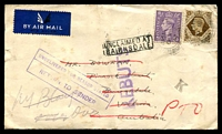 Lot 600 [1 of 2]:1947 inwards air cover from England to Bairnsdale, Undelivered with boxed 'UNCLAIMED AT/BAIRNSDALE', violet 'REBUT' & violet boxed 'UNDELIVERED FOR REASON STATED/RETUR