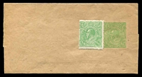 Lot 4407:1915-18 ½d Green KGV Sideface BW #W3 ½d green No Text, folded & unused, Cat $40, apparently sold by PO with additional ½d green KGV adhesive attached