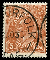 Lot 831:5d Orange-Brown Die II - [3L12] Left end of 22nd shading line, counting up, missing by left frame