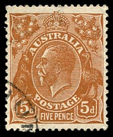 Lot 832:5d Orange-Brown Die II - [3L16] 4th shading line down broken near left wattle leaf etc