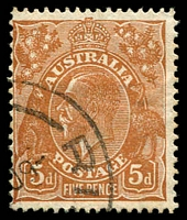 Lot 2880:5d Orange-Brown Die II - BW #127(3)h [3L31] White flaw between crown and right wattles, Cat $25