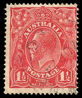 Lot 411:1½d Red Die I - BW #89(17)t [17R28] Notched NW corner - ACCC State I, Cat $18