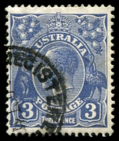 Lot 707:3d Blue Die II - BW #108g [5R38] Retouched ST of AUST, Cat $60.