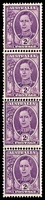 Lot 747:1941-44 2d Mauve KGVI BW #229bb No wmk, coil strip of 4 with join, large & small holes.