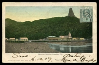Lot 22023 [1 of 2]:1907 (Oct 16) use of ½d green KEVII on hand-coloured Arthur Mills PPC of 'Mission Station Loretto, Fiji', from Suva to Car Cavellos, Portugal.