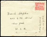 "Lot 4139 [1 of 2]:1938 (Jan 17) use of 1½d Freighter on cover to USA, endorsed ""Per M.V. Oakbank/Via New Zealand"", South Sea Islands Correspondence Club cinderella sealing flap."