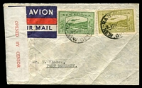 Lot 26200 [1 of 2]:1940 (?) use of 1d & 4d Bulolo on Burns Philp air cover from Rabaul to Port Morseby, red on white 'OPENED BY CENSOR' label at left tied by light 'Passed by Censor/T.N.G. No. 1