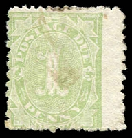 Lot 1080:1891 SG #D2d ½d green P12x10 with left wing margin, Cat £40.
