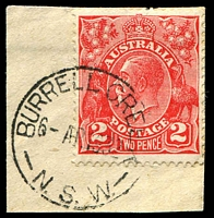 Lot 1206:Burrell Creek: - 'BURRELL CREEK/6AP1932/N.S.W.' on 2d red KGV on piece.  TO 16/9/1905; RO 1/4/1906; PO 1/10/1906; closed 20/10/1978.