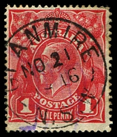 Lot 6823:Glanmire: - framed 'GLANMIRE/NO21/6G196g16/N.S.W' on 1d red KGV.  PO 16/9/1865; TO 1/3/1938; closed 7/1/1941.