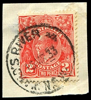 Lot 990:Ward's River (3): - 'WARD'S RIVER     /15MR33/N.S.W' ('RAILWAY' removed) on 2d red KGV on piece.  Renamed from Ward's River Railway PO 11/3/1925.