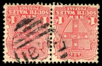 Lot 6101:1814: '1814' BN on 1d Arms pair. [Rated 3R]  Allocated to Mila-PO 1/10/1896; closed 19/12/1960.