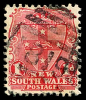 Lot 5598:1819: '1819' BN on 1d Arms. [Rated SS]  Allocated to Bogan Gate-PO 15/12/1896.