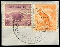 Lot 4531:Wewak: 'WEWAK/3FE51/PAPUA·NEW GUINEA' on ½d Roo & 5d Ram on piece.  PO 1/3/1946.