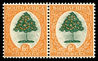Lot 4336:1926-27 Pictorials SG #32 6d green & orange horizontal pair.