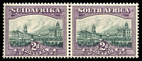 Lot 4339:1930-45 Rotogravure, Unhyphenated SG #44bw 2d slate-grey & lilac horiz. pair Wmk inverted, Cat £22.