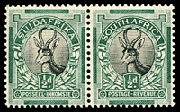 Lot 4337:1930-45 Rotogravure, Unhyphenated SG #42 ½d black & green horiz. pair.