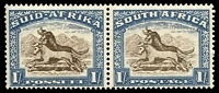 Lot 4650:1933-48 Hyphenated SG #62 1/- brown & chalky blue horiz pair, Cat £55