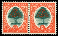 Lot 4343:1933-48 Suid-Africa Hyphenated SG #61d 6d green & red-orange Die III horiz pair, Cat £20