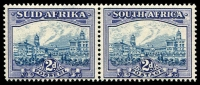 Lot 4341:1933-48 Suid-Africa Hyphenated SG #58 2d blue & violet horiz pair, Cat £75