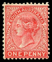 Lot 1238:1876-1904 DLR Wmk Crown/SA (Close) Perf 12x11½: SG #179a 1d scarlet